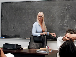 Busty blonde London River in a lesbian threesome at the office