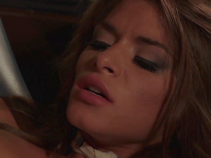 Gorgeous babe Madelyn Marie seduces her pilot on a plane