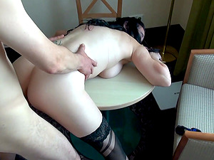 Cum drips out of Mia Sophis shaved pussy after a hardcore fuck