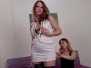 Babes in stockings Arty and Latena share a hard cock