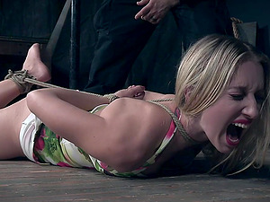 Blonde babe in a floral dress Riley Reyes tied up and abused