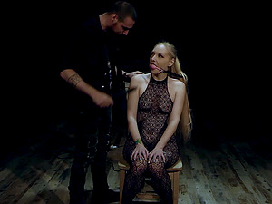 Tied up blonde Miranda Miller abused and forced to suck dick