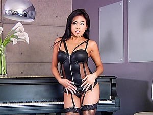 Asian in leather underwear Ember Snow throat fucked and cum sprayed