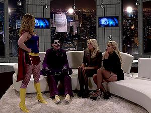 MILF sluts Bridgette B and her friends ride a masked guy's dick