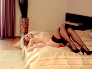 Blonde in lingerie Violette Pure pounded doggy style hardcore