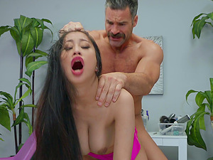 Asian MILF in high heels Jade Kush sucks and rides a big white dick