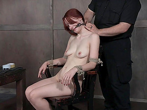 Long haired bimbo Violet Monroe used and abused with her hands tied