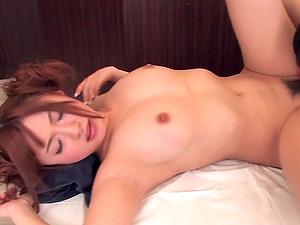 Masked Japanese wife Naruse Kokomi gives a handjob and rides cock