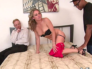 Wife Amanda Blow Spreads for Black Cock