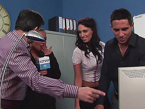 Office group fuck with slutty reporter Jasmine Black and her coworkers
