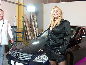 Hardcore group sex in a garage with Alicia Rhodes and mature babes