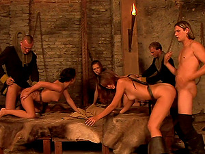 Dungeon group sex session with Vanessa Twain and her slutty friends