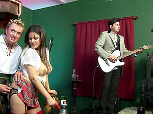 Role play hardcore orgy with Katie Kaliana and her girls in miniskirts