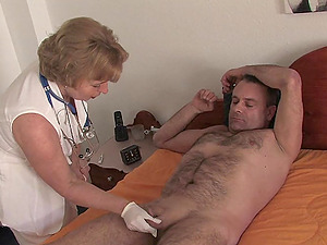 Mature nurse with pierced nipples rides her wel hung patient