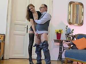 Teen in leather skirt and boots Lulu Love pounded by an old guy