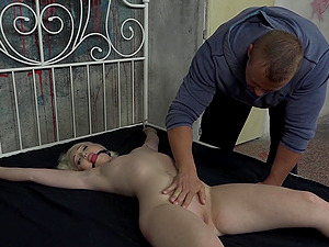 Pale blonde submissive slut Lovita Fate tied to the bed and fucked