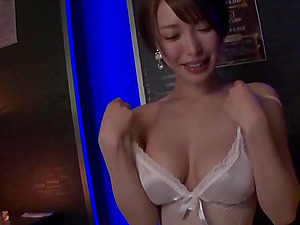 Busty amateur Japanese MILF gets her tits licked in lingerie