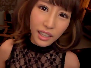 Japanese beauty Ayami Shunka gives a titjob and blows a hard dick