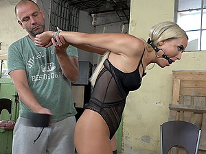 Blonde submissive babe Victoria Pure tied up and abused on a chair