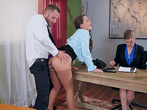 Abigail Mac pounding her new boss at the office to get the job