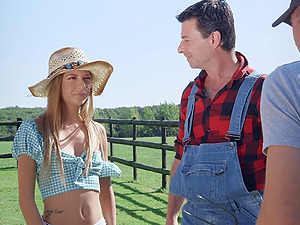Skinny country girl Rebecca Volpetti fucked anf gets a facial in hay