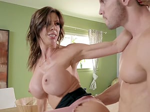 MILF housewife Alexis Fawx sucks and rides cock in the kitchen
