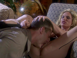 MILF blonde seductress Tyler Faith fills her holes with a hard dick