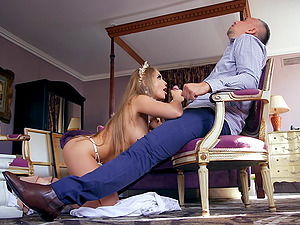 Busty blonde Alessandra Jane caught swallowing her tailor's load