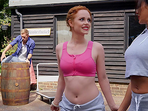 REdhead blue eyed beauty Ella Hughes missionary fucked and cum covered