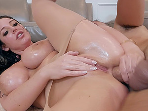 Big ass whore Angela White oiled up and ass fucked hardcore