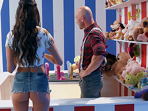 Eliza Ibarra fucks a guy at the fair behind the counter and eats cum