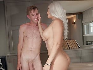 Kitchen doggy fuck and a cumshot on face of blonde Blanche Bradburry