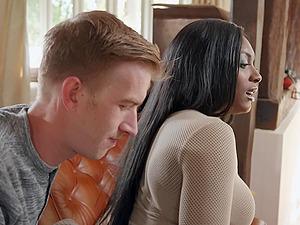 Black bombshell beauty Jai James doggy fucked and gets cum on face