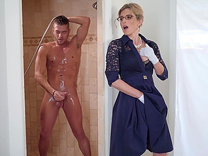 Blonde mature MILF Cory Chase gets cum on her face with glasses