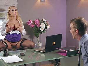 Blonde with red lipstick Angel Wicky doggy pounded and gets a cumshot