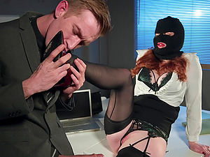 Redhead office slut Zara Durose rides cock like a nympho in heat