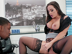 Interracial office doggy fuck with Abigail Mac taking a black dick