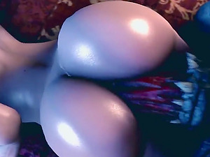 Big tits and sexy round ass redhead chick named Triss getting her mouth deepthroated