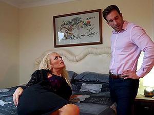 BOmbshell blonde MILF Rebecca Jane Smythe rides a hard dick in office