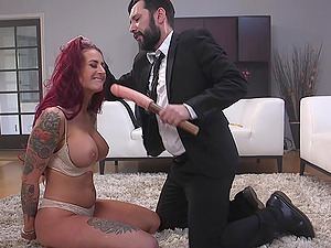 Redhead Tana Lea has toys forced down her throat and cock in her ass