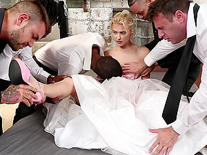 Chloe Cherry tied up and gangbanged hardcore in a wedding dress
