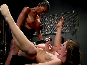 Ebony shemale Natassia Dreams fucks her slave girl Ella Nova hardcore