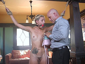 Blonde slender beauty Sophia Grace missionary fucked while tied up