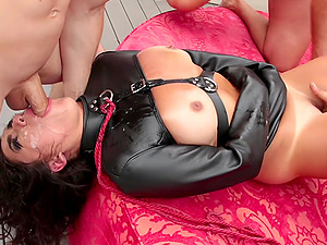 Buxom Monica Sage gangbanged in latex on a leash hardcore