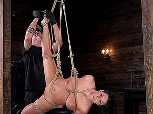 Busty buxom babe Angela White tied up and abused hardcore