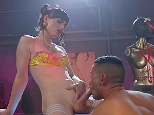 Shemale with small tits Natalie Mars pounds a Latino dude