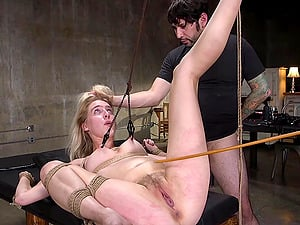 Perky blonde babe Cadence Lux gets a rough bondage fetish fuck