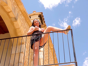 German babe fucked outside on a balcony
