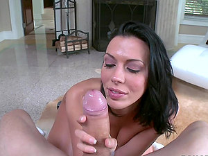 Beautiful dark-haired Rachel Starr loves sucking this fat hard-on