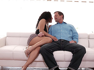 Curly babe Liv Revamped shares dick and cum with Holly Lace